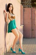 young leggy brunette - stock photo