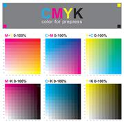 CMYK color swatch chart - subtractive color model - stock illustration