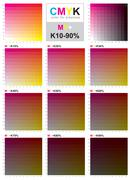 CMYK color swatch chart - magenta and yellow - stock illustration