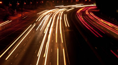 Time Lapse of Traffic in Los Angeles at Night  - 4K -  4096x2304 Stock Footage