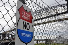 US Government No Trespassing Sign - stock photo