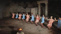 Fiery dance Sirtaki in classical theater at the ancient ruins Stock Footage