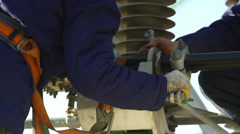 Worker on electricity station Stock Footage