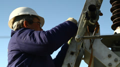 Worker on electricity station - stock footage