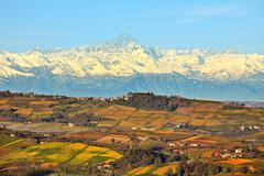 Hills and mountains. piedmont, italy. Stock Photos