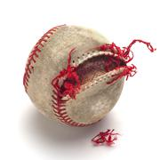 Used baseball, ripped and torn stages (stage #2) Stock Photos