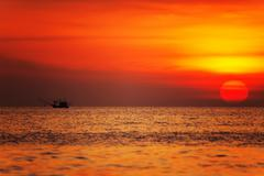 tropical sea at sunset. - stock photo