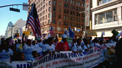 People Marching at Immigration Rally Stock Footage