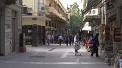 Athens, people on mall retail shops, medium shot Stock Footage