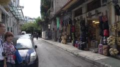 Athens people on narrow street Stock Footage