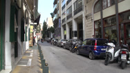 Stock Video Footage of Athens traffic on narrow street, handheld