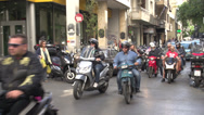 Stock Video Footage of Athens, insane cross traffic on narrow street