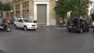 Stock Video Footage of Athens traffic on narrow street, pedestrians too