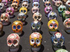 latin american painted skulls - stock photo