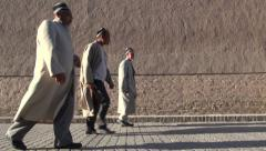 Uzbekistan, senior muslim men, Islam traditional clothing, culture, Central Asia Stock Footage