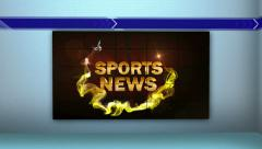 Sports News in Monitor and Room, with Final White Transition Stock Footage