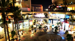 4K Hollywood Night Time Lapse -Shopping Mall- Pan Right - stock footage