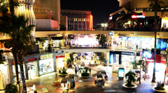 4K Hollywood Night Time Lapse -Shopping Mall- Zoom Out - stock footage