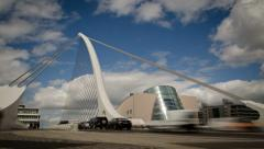 Samuel Beckett bridge time lapse, Dublin Ireland. 4K. Stock Footage