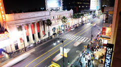 Hollywood Night Time Lapse -The Boulevard- Zoom In - stock footage