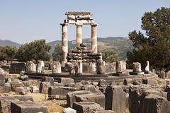 the temple of athena at delphi - stock photo