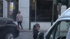 Athens street corner, traffic and pedestrians Stock Footage