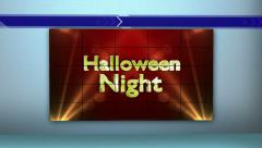 Halloween Night Text in Monitor and Room, with Final White Transition Stock Footage