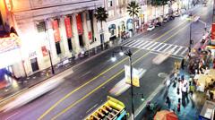 4K Hollywood Night Time Lapse -The Boulevard- Pan - stock footage