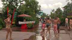 People Walking Between Water Attractions at Aquatica Stock Footage