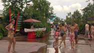 Stock Video Footage of People Walking Between Water Attractions at Aquatica