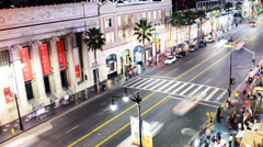 4K Hollywood Night Time Lapse -The Boulevard- Zoom Out - stock footage