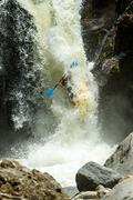Stock Photo of Waterfall Kayak Jump Sangay National Park Ecuador
