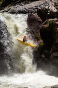 Stock Photo of Waterfall Kayak Jump Sangay National Park Ecuador