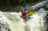 Stock Photo of kayak waterfall jump