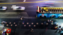 4K Hollywood Night Time Lapse -Above the Walk of Fame- Pan Right - stock footage