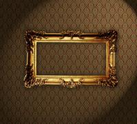 grungy antique wallpaper background with frame. - stock photo