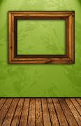 Vintage room with green wall Stock Photos