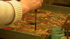 Learners of ebru art practicing Stock Footage