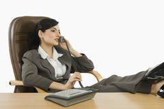 Businesswoman talking on the telephone in an office - stock photo