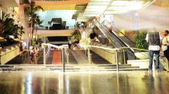 Hollywood Night Time Lapse -Mall Stairs- Pan Left - stock footage