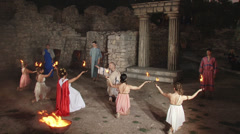 Taking oath in the ancient theater at the ancient ruins. Stock Footage