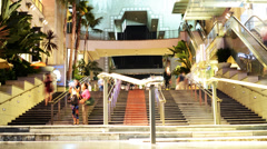 Hollywood Night Time Lapse -Mall Stairs- Zoom Out - stock footage