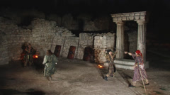 Battle of the barbarians in the ancient theater at the ancient ruins Stock Footage