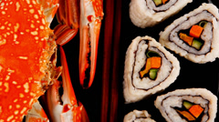 California Roll and cooked crab Stock Footage