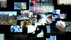 3D montage New York skyscrapers with Multi ethnic business travel managers Stock Footage