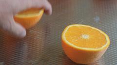 Slicing oranges, Closeup Stock Footage