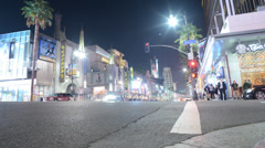 Hollywood Night Time Lapse -Intersection- Tilt Up - stock footage