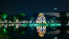 4k Zoom - Turtle Tower on Hoan Kiem lake - Hanoi, Vietnam Stock Footage