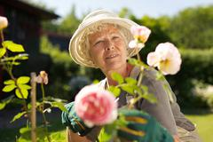 Relaxed mature lady working in her garden Stock Photos