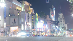 Hollywood Night Time Lapse -Intersection- Zoom Out Stock Footage
